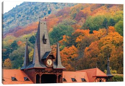 Romania, Brasov. Poarta Schei district. Clock Tower in autumn. Canvas Art Print