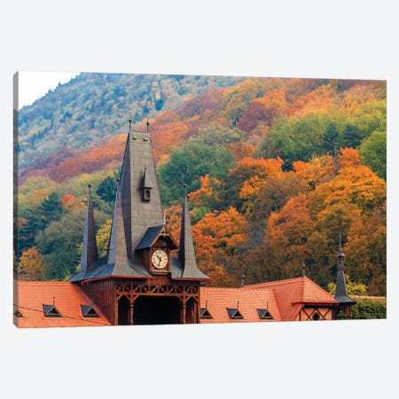 Romania, Brasov. Poarta Schei district. Clock Tower in autumn. Canvas Print #EWI6} by Emily Wilson Canvas Wall Art