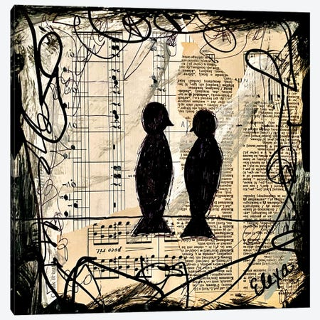 Two Songbirds Canvas Print #EXB19} by Elexa Bancroft Canvas Artwork