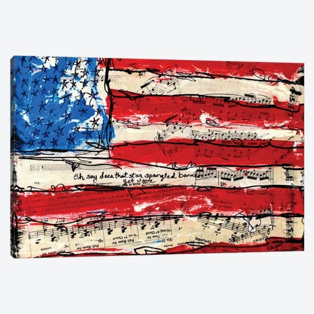 Oh Say American Flag Canvas Print #EXB1} by Elexa Bancroft Canvas Art Print
