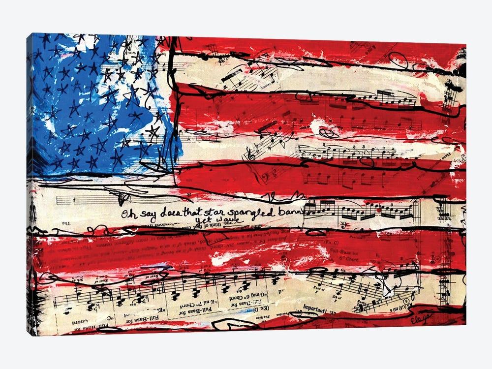 Oh Say American Flag by Elexa Bancroft 1-piece Canvas Art