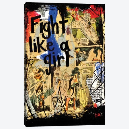 Fight Like A Girl Wonder Woman Canvas Print #EXB32} by Elexa Bancroft Canvas Art