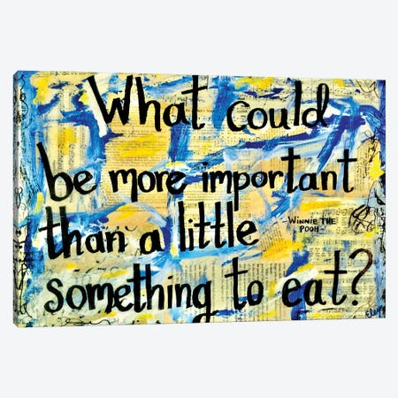 Something To Eat Winne The Pooh Quote Canvas Print #EXB76} by Elexa Bancroft Canvas Print
