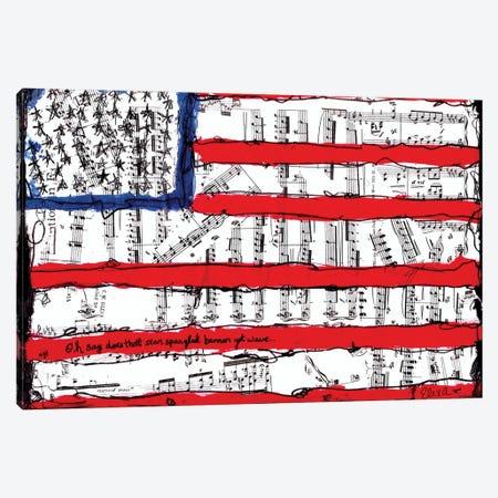 Home Of The Brave American Flag Canvas Print #EXB7} by Elexa Bancroft Canvas Art