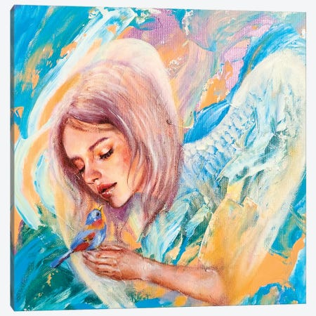 The Blue Bird Canvas Print #EYK14} by Eury Kim Art Print