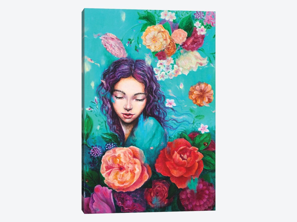 Flying petals by Eury Kim 1-piece Canvas Art
