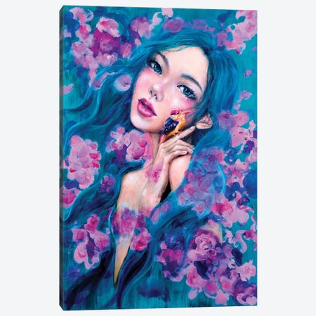 The Lover: Green Canvas Print #EYK52} by Eury Kim Canvas Wall Art