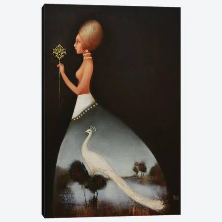 Dress With A White Peacock Canvas Print #EZE12} by Eduard Zentsik Canvas Wall Art