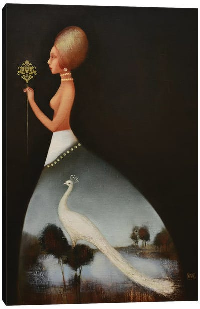 Dress With A White Peacock Canvas Art Print