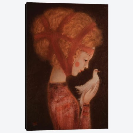 Girl And A Dove Canvas Print #EZE19} by Eduard Zentsik Canvas Artwork
