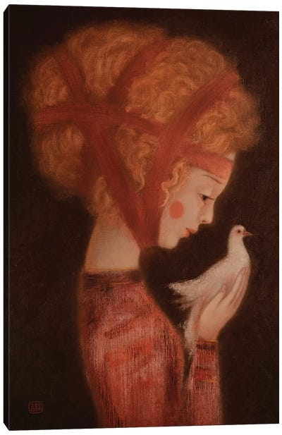 Girl And A Dove Canvas Art Print