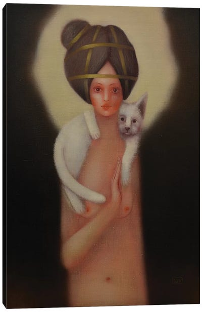Girl And A White Cat Canvas Art Print