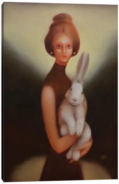 Girl And Bunny Canvas Art Print