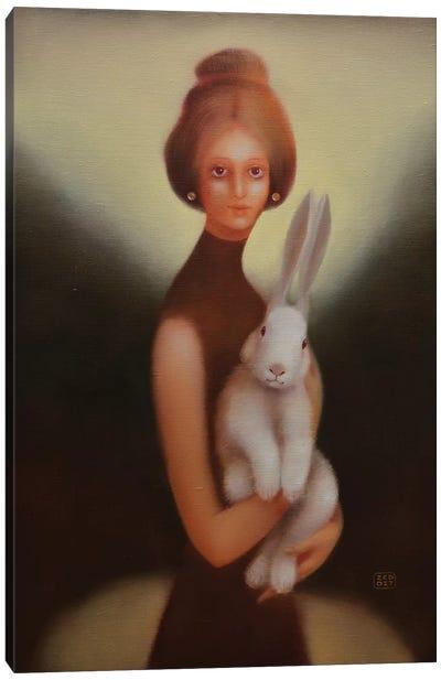 Girl And Bunny Canvas Art Print