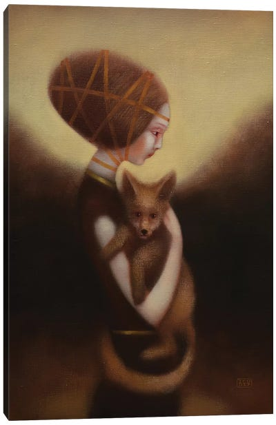 Girl And Fox Canvas Art Print