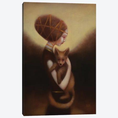Girl And Fox Canvas Print #EZE22} by Eduard Zentsik Art Print