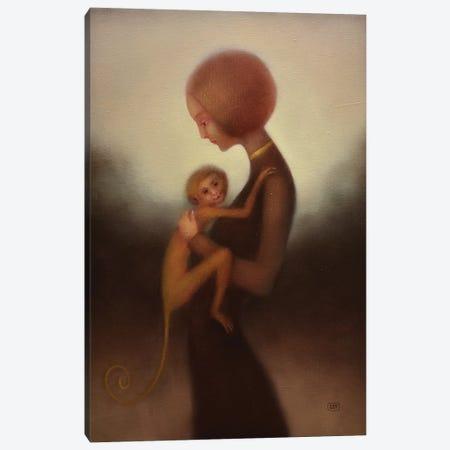 Girl And Monkey Canvas Print #EZE23} by Eduard Zentsik Canvas Print