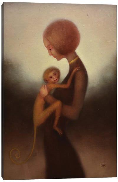 Girl And Monkey Canvas Art Print
