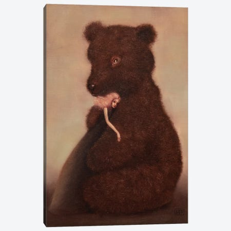 Love And The Bear Canvas Print #EZE28} by Eduard Zentsik Art Print