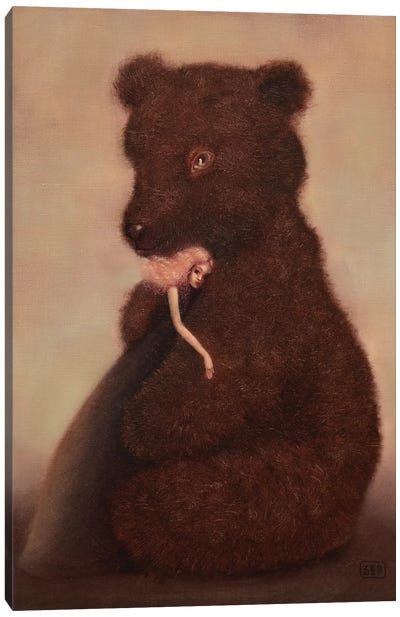 Love And The Bear Canvas Art Print