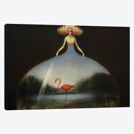 Pink Flamingo Canvas Print #EZE44} by Eduard Zentsik Canvas Artwork