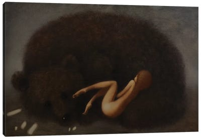 Bear And Girl Canvas Art Print