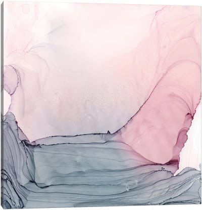 Blush & Gray Ripples Canvas Art Print