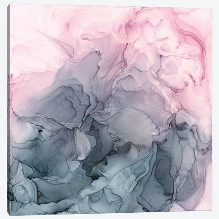 Blush & Paynes Gray Flowing Abstract Canvas Print #EZK11} by Elizabeth Karlson Canvas Artwork