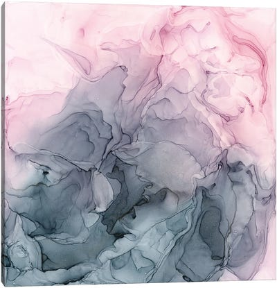 Blush & Paynes Gray Flowing Abstract Canvas Art Print