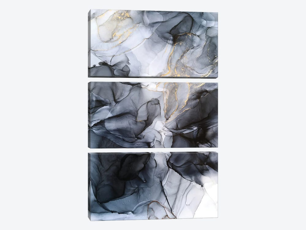 Calm But Dramatic Light Monochromatic Abstract by Elizabeth Karlson 3-piece Canvas Print