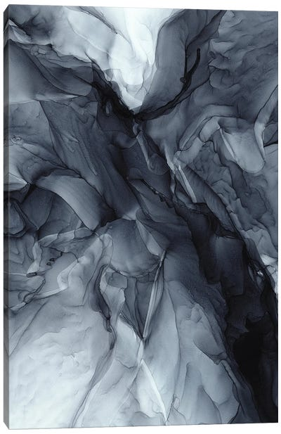 Gray Black Gradient Dramatic Flowing Abstract Canvas Art Print