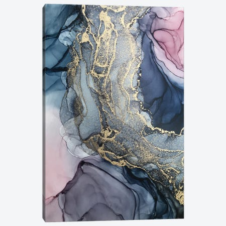 Blush, Paynes Gray And Gold Metallic Abstract Canvas Print #EZK62} by Elizabeth Karlson Canvas Art Print