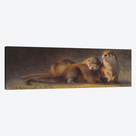 Cozy Companions Otters Canvas Print #EZT25} by Ezra Tucker Art Print