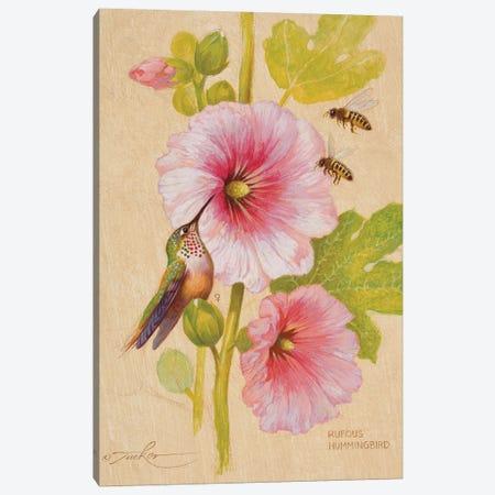 Rufous Hummingbird (F) & Honey Bees Canvas Print #EZT50} by Ezra Tucker Canvas Art Print