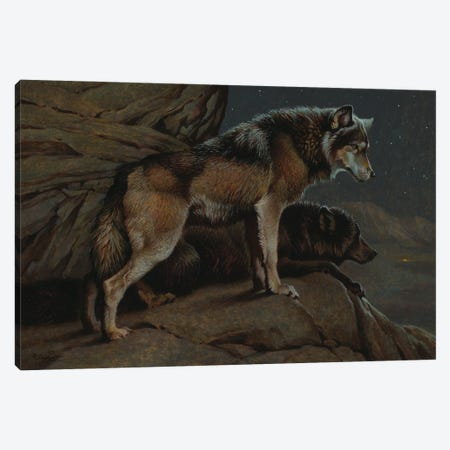 Scent Of Man- Wolves At Night Canvas Print #EZT52} by Ezra Tucker Canvas Print