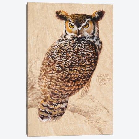Great Horned Owl Canvas Print #EZT89} by Ezra Tucker Canvas Wall Art
