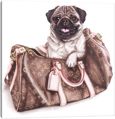 Puddog In Lv Bag Canvas Art Print