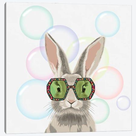 Winter Bunny In Gucci Glasses Canvas Print #EZV14} by Elizaveta Molchanova Canvas Wall Art