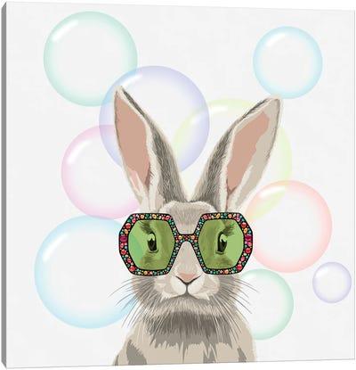 Winter Bunny In Gucci Glasses Canvas Art Print