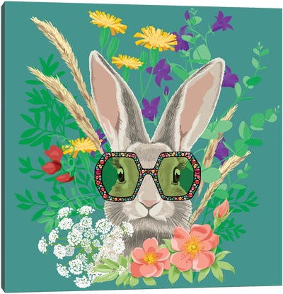 Summer Bunny In Gucci Glasses Canvas Art Print