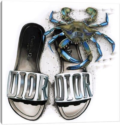 Blue Crab In Dior Canvas Art Print