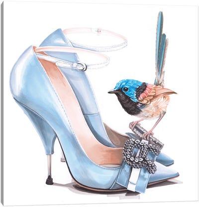 Fairy Wren On Rochas Shoes Canvas Art Print