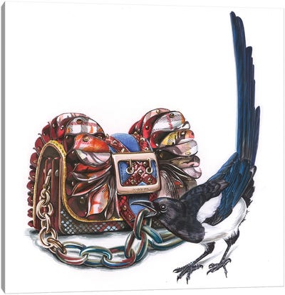 Magpie With Burberry Bag Canvas Art Print