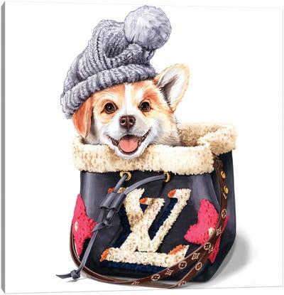 Corgi In Hat And LV Bag Canvas Art Print