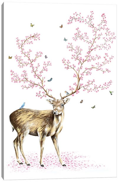Cherry Blossom Deer Canvas Art Print