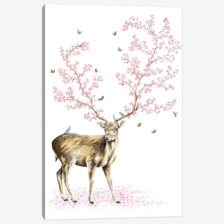 Cherry Blossom Deer 3-Piece Canvas #FAB10} by Michelle Faber Canvas Print
