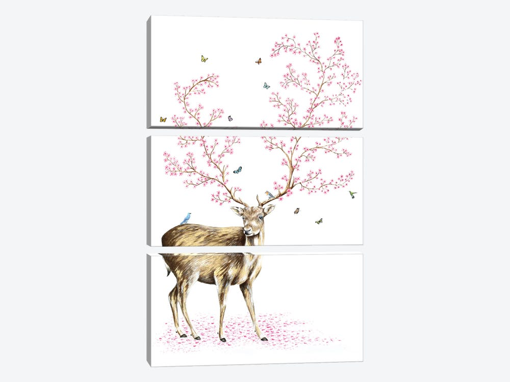 Cherry Blossom Deer by Michelle Faber 3-piece Canvas Artwork