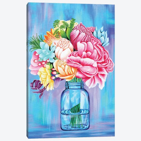 Colorful Flowers In Mason Jar 3-Piece Canvas #FAB11} by Michelle Faber Canvas Art Print
