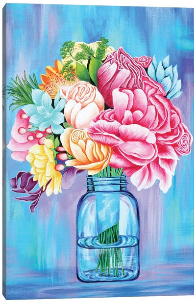 Colorful Flowers In Mason Jar Canvas Art Print