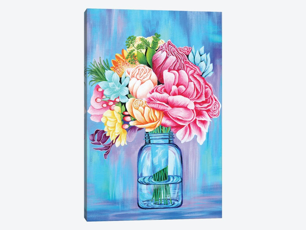 Colorful Flowers In Mason Jar by Michelle Faber 1-piece Canvas Print